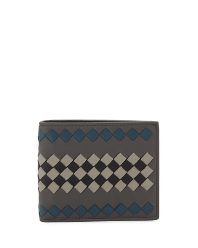 Men's Basic Two-Tone Woven Leather Wallet