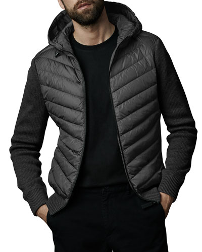 Men's Hybridge Knit-Sleeve Puffer Jacket