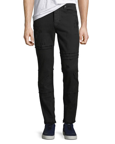 Men's Vaughn Skinny Ankle-Zip Distressed Jeans