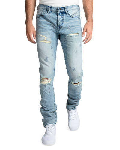 Men's Rip/Repair Distressed Tapered Jeans with Multi-Stitch