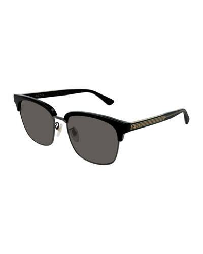 Men's GG0382S001M Half-Rim Sunglasses