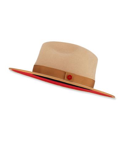 Queen Red-Brim Wool Fedora Hat, Beige