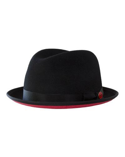 Men's Prince Red-Brim Wool Fedora Hat, Black