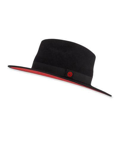 Queen Red-Brim Wool Fedora Hat, Black