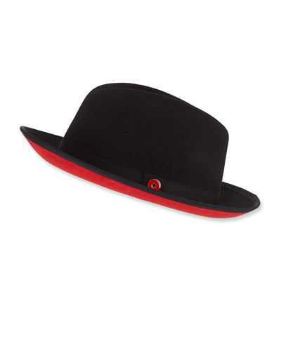 Men's King Red-Brim Wool Fedora Hat