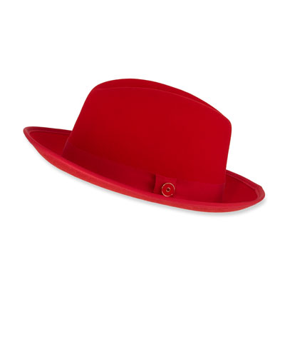 Men's King Red-Brim Wool Fedora Hat, Rose