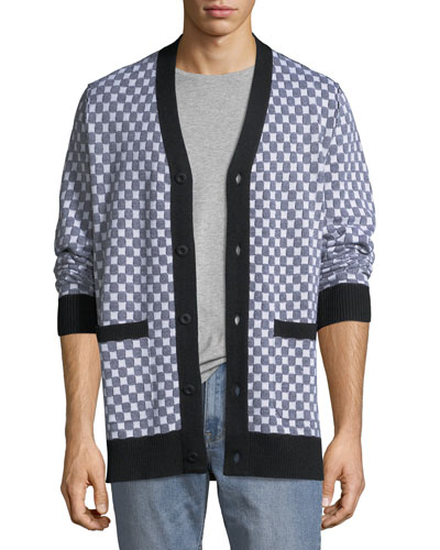 Men's Checkerboard Pocket Cardigan