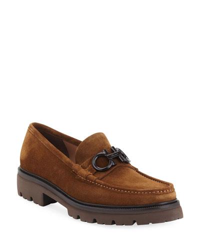 Men's Bleecker 4 Suede Lug-Sole Gancini Loafers