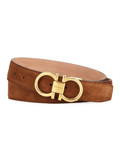 Men's Suede Belt with Antiqued Gancini Buckle