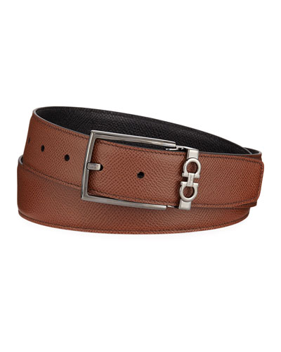 Men's Textured Leather Belt with Gancini Detail