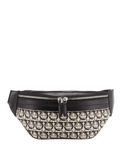 Men's Gancini Jacquard Canvas Belt Bag/Fanny Pack