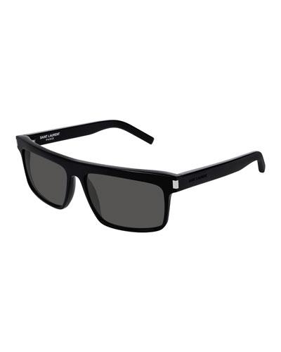 Saint Laurent Men's Flattop Rectangle Sunglasses with Mineral