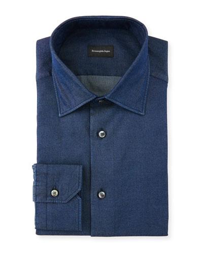 Men's Denim Cotton Dress Shirt