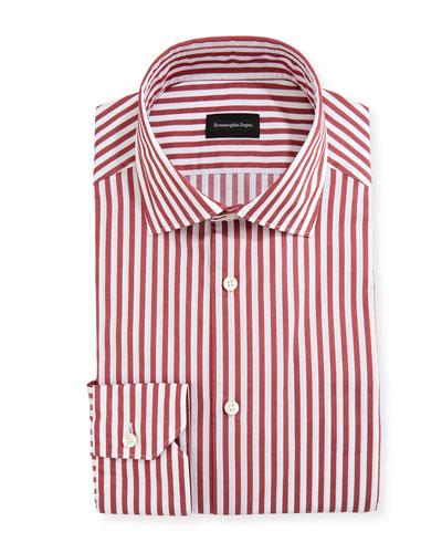 Men's Washed Bengal Striped Cotton Dress Shirt