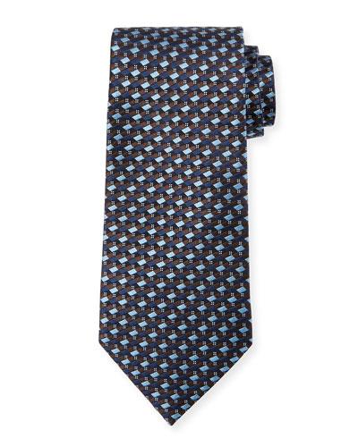 Ermenegildo Zegna Micro-Check Silk Tie, Light Blue/Brown