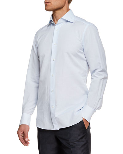 Men's Cotton/Linen Micro Graph-Check Dress Shirt
