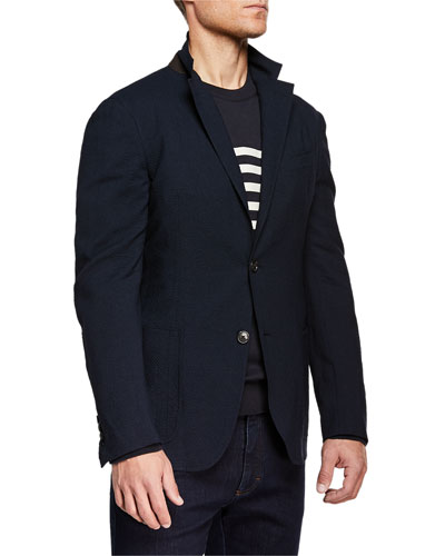 Men's Wool/Linen Seersucker Two-Button Blazer