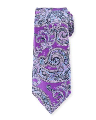 Ermenegildo Zegna Large-Scale Paisley Tie, Light Blue, Purple