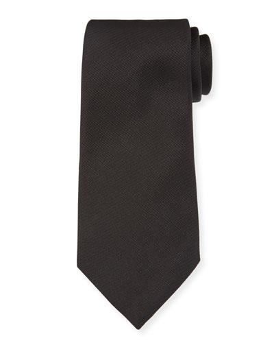 Solid Silk Twill Tie, Black