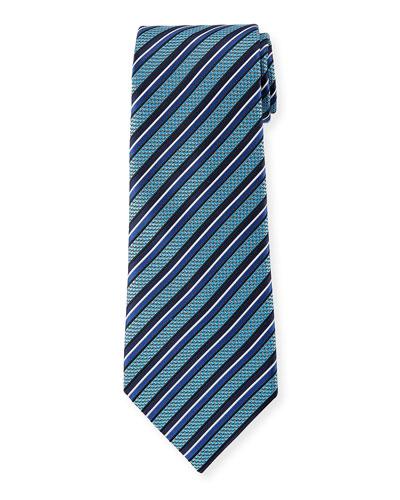 Ermenegildo Zegna Diagonal Geometric Silk Tie, Blue
