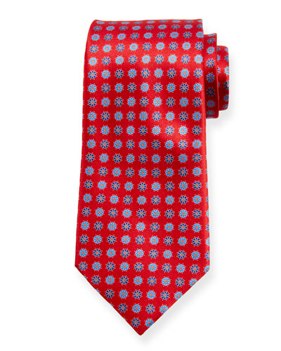 Alternating Flowers Silk Tie, Red