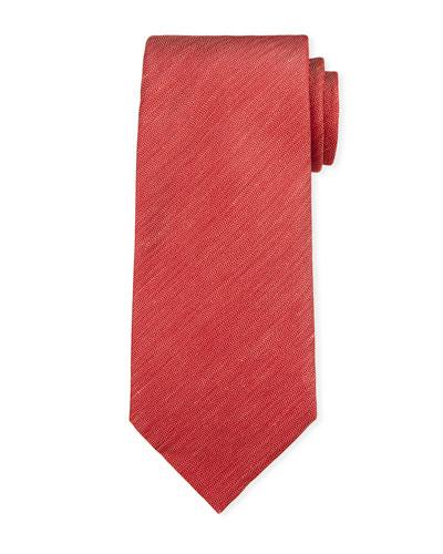 Two-Tone Chevron Silk Tie, Red