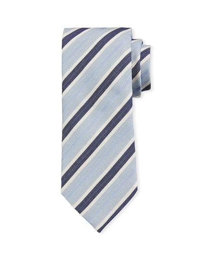 Ermenegildo Zegna Framed Stripe Silk Tie, Light Blue