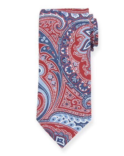 Paisley Silk Tie, Red