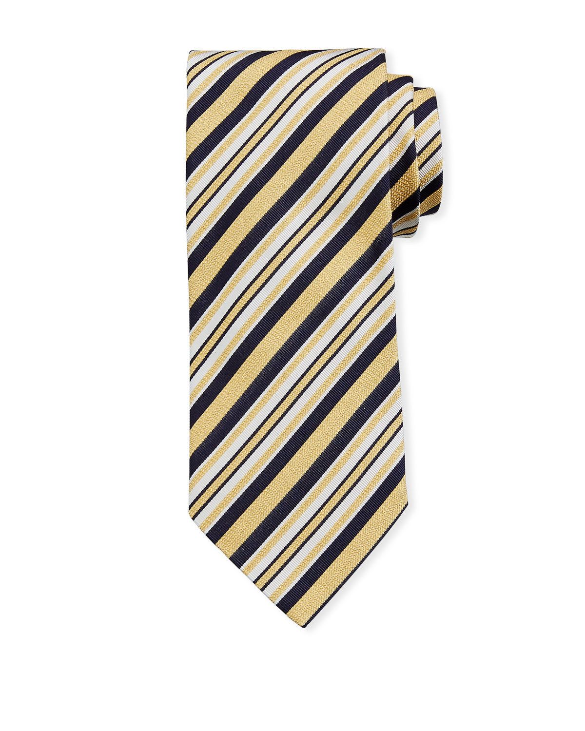 Ermenegildo Zegna Ties MULTI-STRIPE SILK TIE, YELLOW