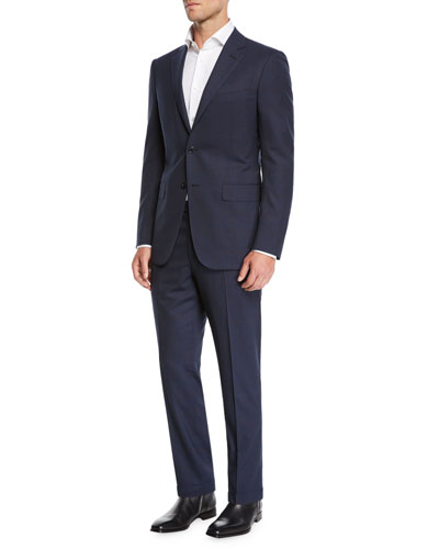 Men's two-piece wool plaid suit