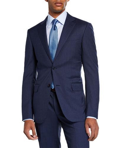 Men's Bead Striped Two-Piece Wool Suit