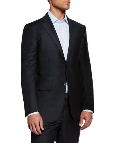 Men's Textured Solid Wool Two-Piece Suit