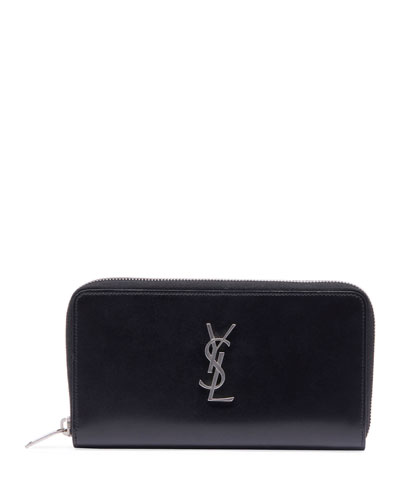 Men's YSL Monogram Leather Zip Wallet