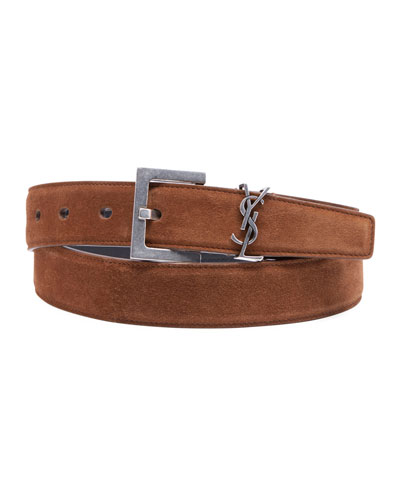 Men's YSL Monogram Calf Suede Belt
