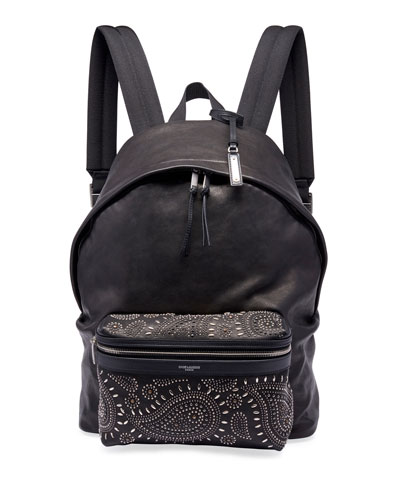 Men's City Studded Leather Backpack