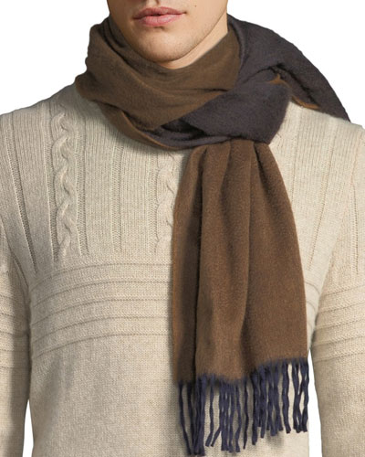 Men s Two-Tone Cashmere Scarf, Brown a98fba39bae