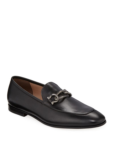 Men's Smooth Leather Loafers with Chain Bit