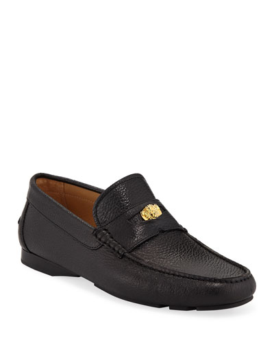Men's Signature Medusa Textured Leather Loafer