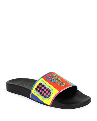 Versace Men's Graphic-Print Wildcolor Lettering Slide Sandal