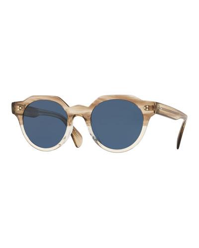 02cdf8f519 Men s Irven Faceted Round Acetate Sunglasses - Military VSB