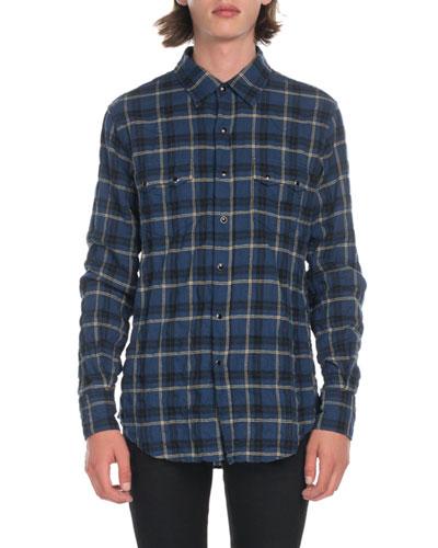 Men's Plaid Flannel Pocket Sport Shirt