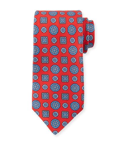 Men's Multi Medallions Tie, Red