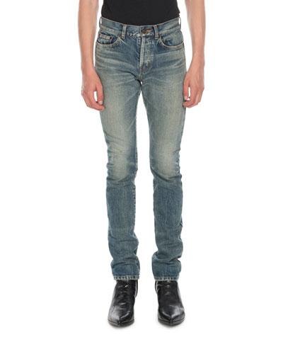 Men's Wash Distressed Denim Jeans