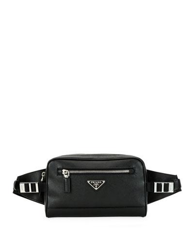 Men's Saffiano Leather Travel Belt Bag/Fanny Pack