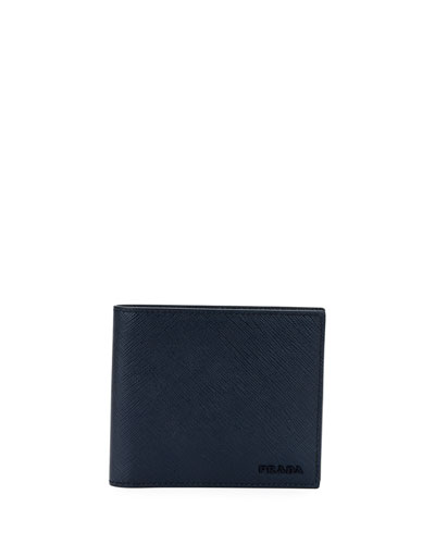 Men's Colorblock Saffiano Leather Double Billfold Wallet