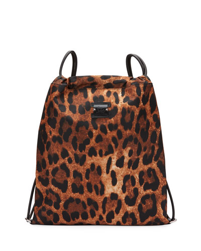 Men s Leopard-Print Nylon Drawstring Backpack with Leather Trim c35fbd3a38