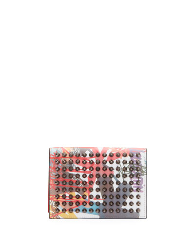 Christian Louboutin Men's Clipsos Tie-Dye Studded Card Case