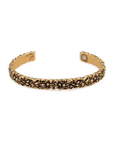 Men's 8mm Lion Head Aged Metal Cuff Bracelet
