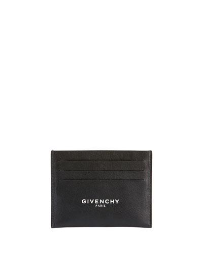 Men's Logo-Front Leather Card Case
