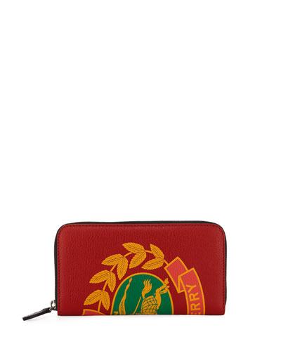 Men's Crest-Print Leather Zip-Around Wallet